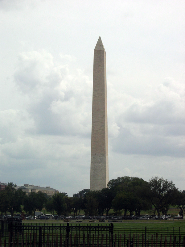 The Washington Monument from the front of the White House, Washington, DC.