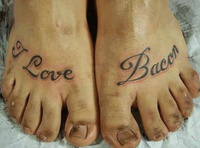 I Love Bacon Tattoo BUT NOT PEDICURE!