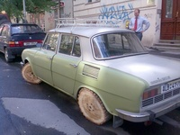 Skoda on wooden wheels!