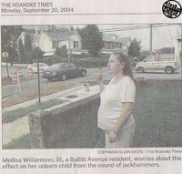 The problem for my unborn child is the sound of jackhammers not THE CIGARETTE THAT I AM SMOKING!
