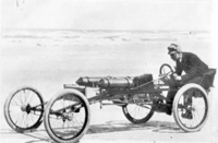 1896 - 1897 Ransom E. Olds in the Olds Pirate racing car