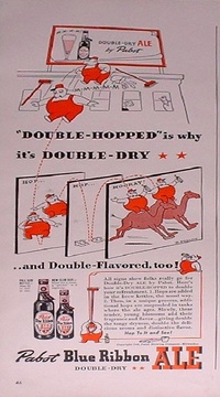 1942 - Pabst Blue Ribbon Ale - Double-Hopped is why it's Double-Dry