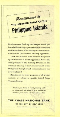 1945 - Chase National Bank - Remittances to the liberated areas of the Philippine Islands