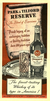 1945 - Park Tilford Whiskey - The Blend of Experience, Born 104 Years Ago