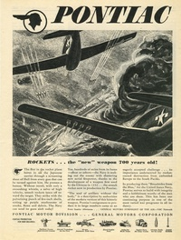 "1945 - Pontiac Motor Division - ROCKETS... the ""new"" weapon 700 years old!"