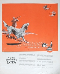 1950 - AC Spark Plug - Coralox Insulator - Hunter Shooting Ducks