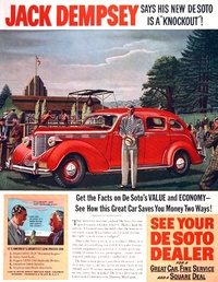 1938 - Desoto - Jack Dempsey sais his new car is a Knockout!