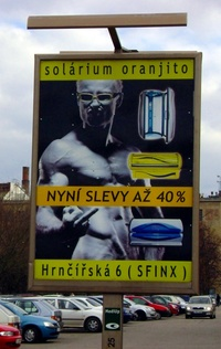 2008 - Solarium - Billboard in Brno Showing The Finger Naked