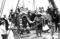 Tritonia, preparing to explore the wreck of the RMS Lusitania in 1935