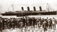LUSITANIA, 1907 1914, New York City: broadside view, maiden voyage, crowd in foregrd