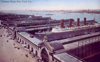 Postcard (about 1910) of the Lusitania and Chelsea Piers