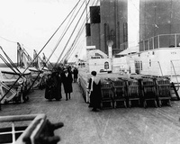 Passengers taking a stroll on the boat's deck