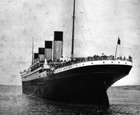 RMS Titanic Leaving Southampton - note the name on the stern shell plates