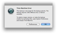 Sample Time Machine Error
