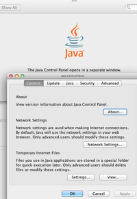 Java Control Panel opens in separate window