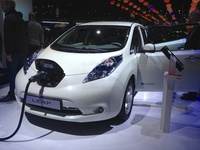 Nissan Leaf plugged in
