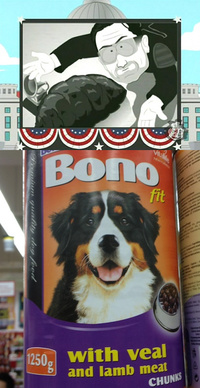 Bono... from turd to dog food