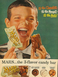 Vintage Mars Ad - the 3-flavor candy bar