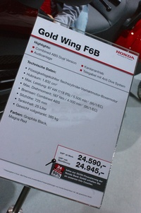 Honda Gold Wing F6B - specs and price