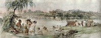 Bathers in the Colentina river, 1869 watercolor by Amedeo Preziosi