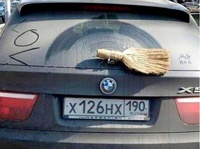 BMW with a broom instead of wiper