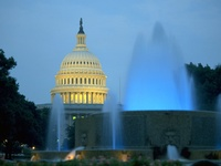 U.S. Capitol Building and Fountains, Washington D.C. USA