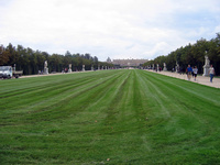 A view of the Versailles gardens, toward the palace