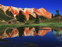 Red Mountain Reflected in Alpine Tarn