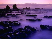 Rising Tide at Sunset, South Island, New Zealand